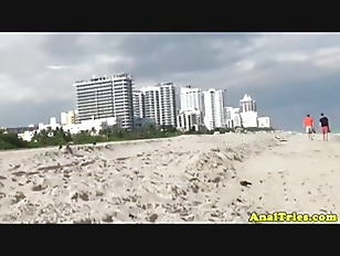 Ass fucking action with busty beach slut