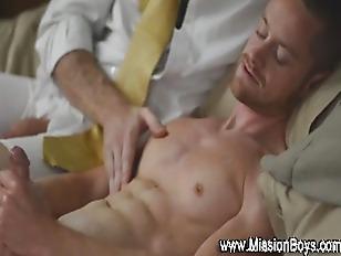 Uniformed elder fucks gay ass
