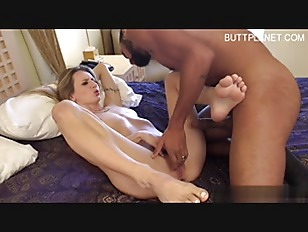 Sexy blonde babe fuck by bbc on bed