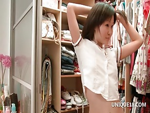 Asian Sakari playing dress up goes naked