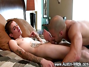 Horny gay takes hard cock whil