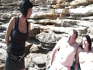 Brunette fucked on the beach b