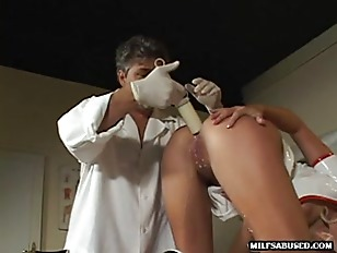 Blonde nurse babe gets a white