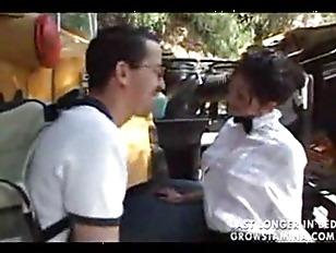 Sexy bus driver seducing schoo