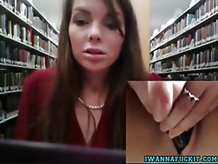 Cute babe toys tight pussy in public library