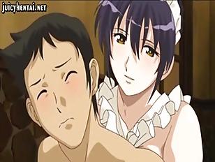 Horny hentai maid getting jizzload