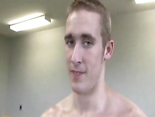 Muscular jock pulls his cock a
