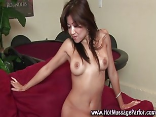 Sexy masseuse babe spreading h