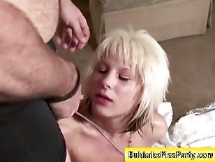 Piss soaked whore sucks cock