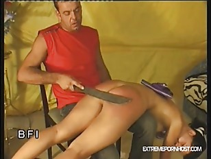 Knife spanking scrotum sucking