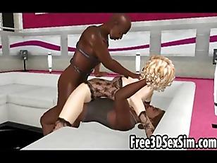 Sexy 3D Cartoon Babe Fucking Two Black Dudes