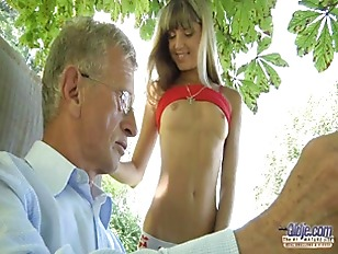 Picture Little Sweet Gina Fucks Old Guy In The Garde