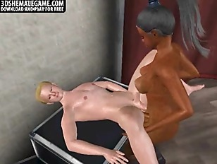 Asian ladyboy getting bareback fucked in a sex chair
