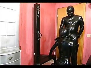 Slutty slave girl in black lat