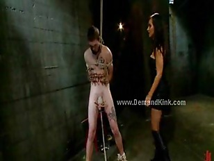 Man sex slave tied roughly and