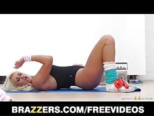 Slutty blonde aerobics teacher