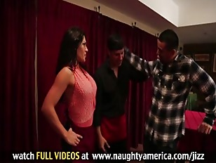 Picture Busty Latina Cougar Waitress Seduces Coworke...