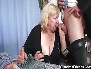 Granny gives double blowjob th