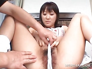 Asian hairy pussy teased with