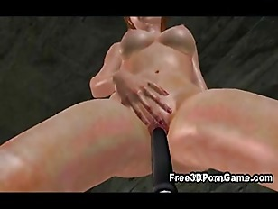 Sexy 3D cartoon redhead riding