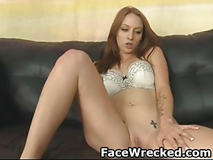 Very Pretty Brunette Getting Face Fucked On The Floor