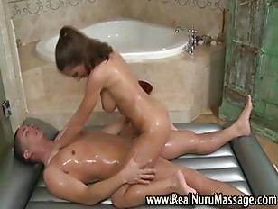 Sexy babe gives hot nuru massa