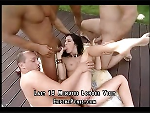 Outdoor gang bang for hot pussy cumshot
