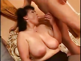 Huge tits mature fucks in her