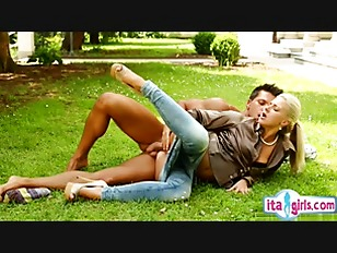 Horny girlfriend fuck on grass
