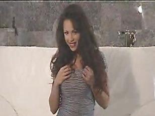 Busty brunette sexy striptease
