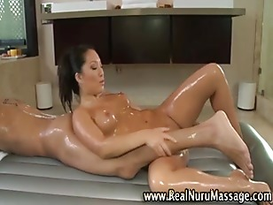 Asian babe gives blowjob and n