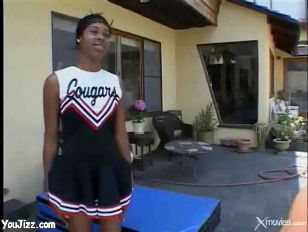 Picture Sweet Young Ebony Cheerleader Shows Off Her...