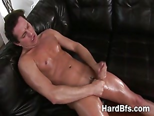 Naughty guy puts some oil on h