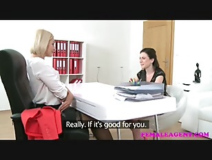 FemaleAgent Sexy agent dominates casting with a big strap on dildo