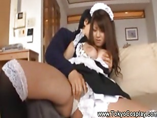 Asian maid lets a man touch he