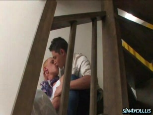 Blond guy gives blowjob on the