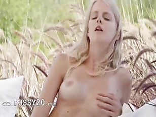Blonde glamour toying pussy in