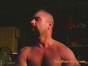 Big muscle bear in steamy hot