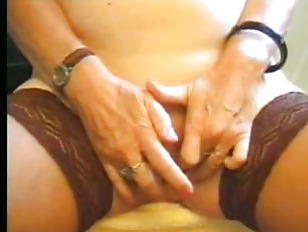 Picture Granny In Stockings Plays In The Kitchen