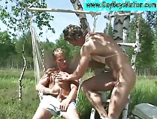 Outdoor gays blowjob action