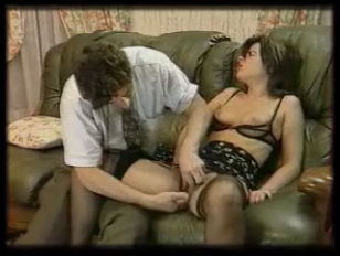 Threesome on the green couch
