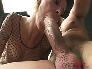 Picture CarloJones Blonde In Fishnet Bodystocking Gets He...