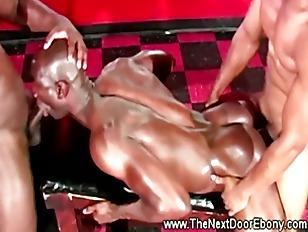 Muscular ebony fitness dudes f