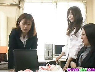Babes having office group sex