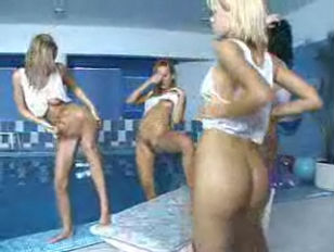 Picture Group Of Naked Girls Playing By The Pool
