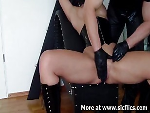 Busty slave fist fucked in her