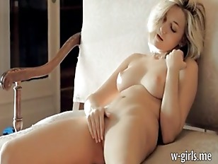 Stunning Blonde Teen Caressing Her Body And Her Pussy