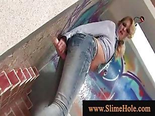 Blonde slut at glory hole gets