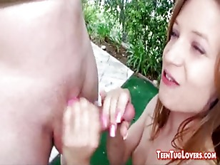 Picture Petite Young Girl 18+ Jerks Cumshot On Her S...