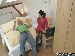 He makes her ride his cock aft